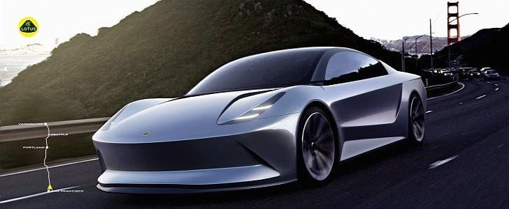 汽车设计学生想象使用固态电池的莲花电动轿车