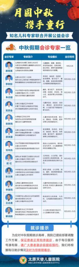 假日不休,看诊无忧,太原天使儿童医院中秋节专家照常坐诊!